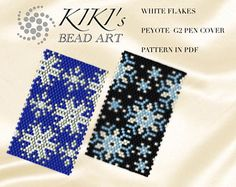 Peyote pen cover patterns, White flakes, snowflakes peyote pattern set of 2 for pen wrap - for G2 pen by Pilot- in PDF instant download