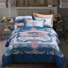 luxury Egyptian cotton bedding sets blue slippery soft linens Queen/King size duvet cover+bedsheet+pillowcases