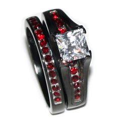 Thin Red Line Tungsten Carbide Ring Dome Shaped Black with Red