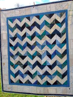 Spare bedroom quilt, not blue and white, but gray and yellow!