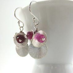 Silver Paillette and Ruby Cluster Earrings  by MelissaAbram, $25.00