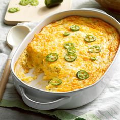 "Cheesy Corn Spoon Bread Recipe -Homey and comforting, this custard-like side dish is a much-requested recipe at potlucks and holiday dinners. They jalapeno pepper adds just the right ""bite"". Seconds helpings of this tasty casserole are common - leftovers aren't. -Katherine Franklin, Carbondale, Illinois"