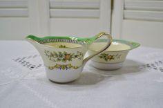Vintage Noritake Roseara Sugar Bowl and Creamer by PanchosPorch