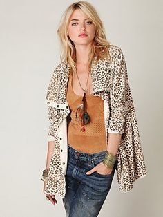 Free People Leopard French Terry Cardigan at Free People Clothing Boutique - StyleSays