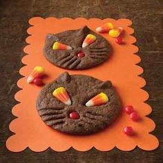 Chocolate cookies that make a cute, fun Halloween dessert. The candy corn eyes take on a unique look when baked. Adorable for a Halloween party!