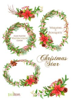 This set of 5 high quality hand painted watercolor wreaths and bouquets. Watercolor wreaths and bouquets of spruce branches, poinsettia, cones, star
