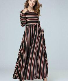f536c53030 Women's Linen Dress Polka Dots Plus Size Spring Dress Red Maxi Dresses  Striped Plus Size Dresses