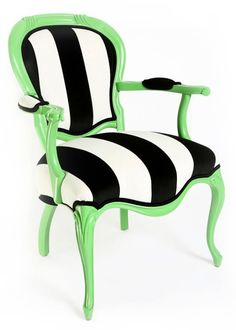 Green Painted Refurbished Upholstered Black by JessicaAllynDesigns, $620.00