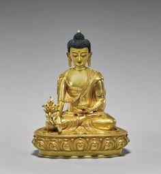 Sino-tibetan Gilt Bronze Figure: Medicine Buddha