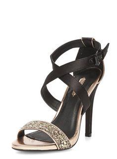 Gold glitter strappy sandals