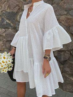 Half Sleeve Dresses, Knee Length Dresses, Half Sleeves, Flared Sleeve Dress, Shirt Sleeves, Casual Dresses, Summer Dresses, Party Dresses, Autumn Dresses