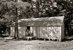 "House Without Windows: May 1938. New Madrid County, Missouri. ""House without windows. Home of sharecropper cut-over farmers of Mississippi bottoms."" 35mm nitrate negative by Russell Lee for the Farm Security Administration."