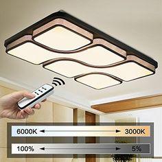 NatsenR 48W LED Deckenleuchte Schwarz Modern Deckenlampe Voll Dimmbar
