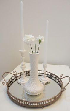 Recreating a milk glass centerpiece with Rustoleum Heirloom White Spray Paint.