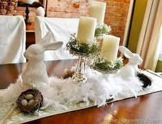A soft feather boa, mercury glass candleholders, and glossy white ceramic bunnies are the basics for this great Easter centerpiece. Easter Table Decorations, Table Centerpieces, Easter Decor, Easter Ideas, Easter Centerpiece, Centerpiece Ideas, Holiday Decorations, Holiday Crafts, Holiday Fun