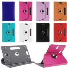 "For Prestigio MultiPad Wize 3037 3G PMT3037 7""Inch 360 Degree Rotating Universal Tablet PU Leather cover case Free OTG"