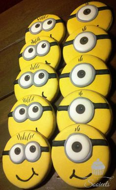 Despicable Me MINION Sugar Cookie Favors  One Dozen by Sooieets, $45.00