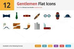12 Gentlemen Flat Icons by roundicons.com on @creativemarket