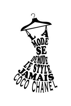Vente STICKERS / 22130 / Musique et lettrage / Sticker La mode de Coco Chanel Noir