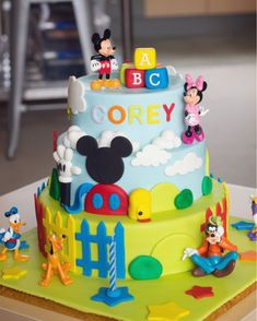 Pretty Image of Mickey Mouse Clubhouse Birthday Cake . Mickey Mouse Clubhouse Birthday Cake Mickey Mouse Clubhouse 3 Tier Cake 3 Year Old Party Pi Mickey Mouse Cupcakes, Mickey Mouse Torte, Mickey Mouse Cake Decorations, Mickey And Minnie Cake, Bolo Mickey, Mickey Mouse Clubhouse Birthday Party, Mickey Cakes, Elmo Party, Mickey Party