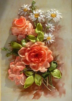 *RIBBON ART ~ Gallery.ru / Розы с ромашками - Вышивка лентами, часть 2 - silkfantasy