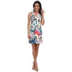 3265202-p-2x Best Deal Nicole Miller  Orchid Jungle Neoprene Shift Dress (White Multi) Women's Dress