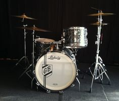 """My 1963 Ludwig Black Pearl Drumset.  12"""" Rack tom, 16"""" Floor Tom, 22"""" Bass Drum. 14"""" Supraphonic 400 metal snare drum.  Cymbals are 16"""" and 18"""" thin crash Avedis Zildjians. Ride is a 1979  Paiste 2002 Series  22"""". High Hat Cymbals are 2012 Dreams 14""""."""