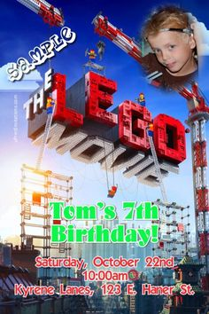 Lego Movie Birthday Invitations - Get these invitations RIGHT NOW. Design yourself online, download and print IMMEDIATELY! Or choose my printing services. No software download is required. Free to try!