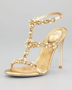 T-Strap Beaded Sandal by Rene Caovilla - Pretty, sexy opulent (A lady can dream, yeah? Rene Caovilla, Zapatos Shoes, Shoes Sandals, High Sandals, Bridal Shoes, Wedding Shoes, Bridal Footwear, Bridal Sandals, Wedding Gold