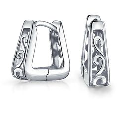 Bling Jewelry Filigree Swirl Hoops (£24) ❤ liked on Polyvore featuring jewelry, earrings, grey, hoop-earrings, filigree jewelry, swirl earrings, gray earrings, silver jewelry and silver jewellery