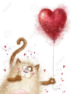 Cute cat with red heart.Cat in love. Cute cat with red heart.Cat in love. Birthday Greetings, Birthday Wishes, Birthday Cards, Valentines Day Background, Love Valentines, Leaves Illustration, Love Backgrounds, Birthday Images, Watercolor Cards