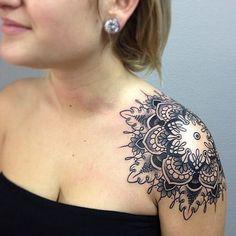 Mandala day! Soo hard to put the stencil on but fun, thanks Julia! #mandala #dotwork #shoulder #tattoo #fun #retardedclient   Flickr - Photo Sharing!