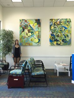 This is my latest installation of abstract art at an orthodontist, commercial interior. Www .madisonblochart.com