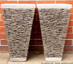 Set of two 80cm natural stone planter pots on stucco front of two 65cm hadiah uk unique broken natural stone plant potsg 800703 workwithnaturefo