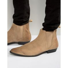 f84f9eca4b65e6 ASOS Pointed Chelsea Boots in Stone Suede ($56) ❤ liked on Polyvore  featuring men's