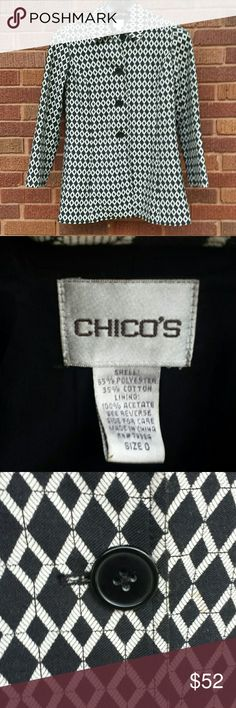 Chico's lightweight coat Diamond / geometric patterned black and off white light -weight coat. Size S or 0. 3 button up. Super nice. Lightly worn....just don't get to wear it enough. Chico's Jackets & Coats Pea Coats