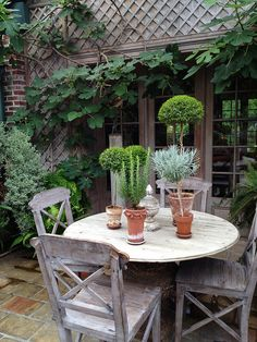 Pretty garden tablescape with topiaries