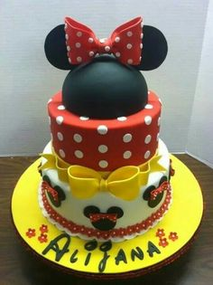 Minnie Mouse Cake Red Yellow Black
