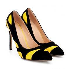 Yellow Color Block Pointed Toe High Heels