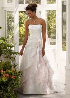Davids Bridal Wedding Dress: Organza Split Front Gown with Floral Print Inset Style