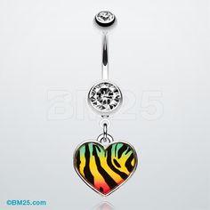 Rasta Stripe Tiger Pattern Heart Belly Ring