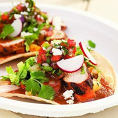 Grilled Chicken Tostadas with Sweet-&-Sour Vegetables - EatingWell.com