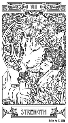 What Are Tarot Cards? Made up of no less than seventy-eight cards, each deck of Tarot cards are all the same. Tarot cards come in all sizes with all types of artwork on both the front and back, some even make their own Tarot cards Inspiration Art, Art Inspo, Tattoo Inspiration, Colouring Pages, Coloring Books, Tattoo Coloring Book, Adult Coloring, Strength Tarot, Tarot Card Tattoo