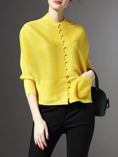 Shop Cropped Jackets - Yellow Plain H-line Elegant Ribbed Cropped Jacket online. Discover unique designers fashion at StyleWe.com.