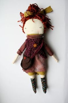 "punky little lu doll 12"" handmade pixie hippy girl red brown hair hand dyed hemp dress cloth doll rag doll"