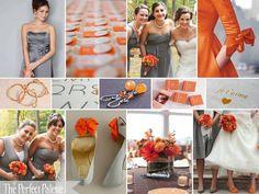 Slate gray and vibrant orange wedding inspiration.