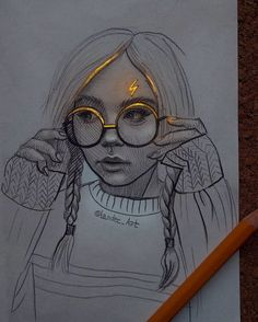 Portraits with a Flash of Color Sonya Rudskaya. Drawing Portraits with a Flash of Color. Click the image to see more of Chertkova Lena's work. Drawing Portraits with a Flash of Color. Click the image to see more of Chertkova Lena's work. Pencil Art Drawings, Art Drawings Sketches, Sketch Art, Easy Drawings, Images Of Drawings, Easy Drawing Images, Sketches Of Girls, Drawings Of Love, Cute Drawings Of Girls