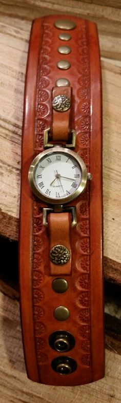 Tan Leather Cuff Watch with Snaps   Hand by LeatherVision on Etsy
