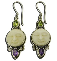 Moon Face Peridot Amethyst Earrings Sterling Silver 925 >>> Click on the image for additional details. (This is an affiliate link) #JewelryForWomen