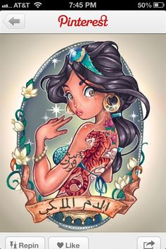 Jasmine tattoo Disney princess